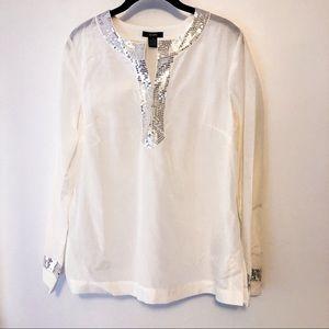 Alfani NWOT Silver Sequin Embellished Silk Tunic